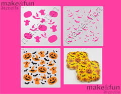 2 Piece Stencil set, Cookie Stencil Halloween Stencil|Fellmuster Schablonen, Airbrush und Royal Icing