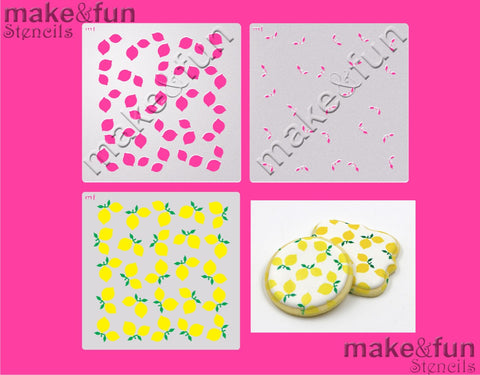 2 Piece Stencil set, Lemon Cookie Stencil Airbrushing|Fellmuster Schablonen, Airbrush und Royal Icing