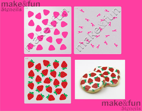 3 Piece Stencil set, strawberry Cookie Stencil Airbrushing Stencil|Fellmuster Schablonen, Airbrush und Royal Icing