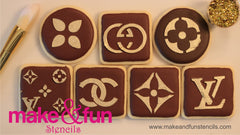 Designer logo Stencil for chocolate covered Oreos|Kuchen Schablonen, Airbrush und Royal Icing
