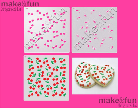 2 Piece Stencil set, Cherry Cookie Stencil Airbrushing|Fellmuster Schablonen, Airbrush und Royal Icing