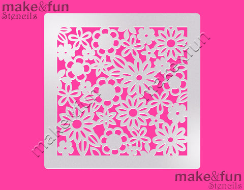 Flowers Pattern Cake Stencil, Airbrushing, DYO|Schablonen, Royal Icing Schablone