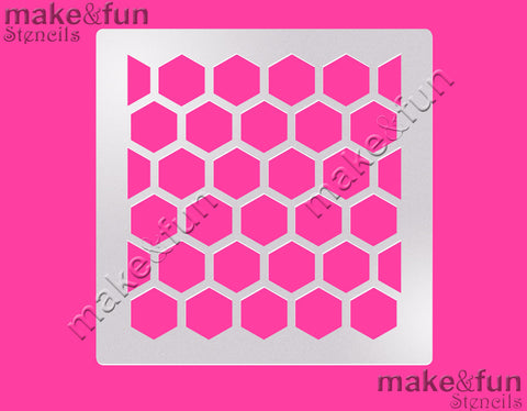 Hexagon Cake Stencil, Airbrushing|Hexagon Schablonen, Royal Icing Schablone