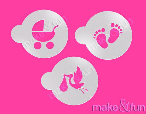 cookie 60mm mother and baby design cake craft /& face painting stencil