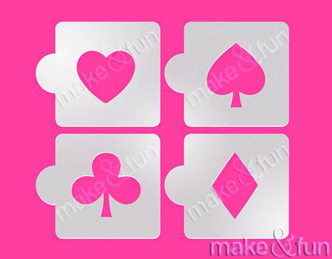 4 pcs Spades Hearts Diamonds Clubs Stencil|4 Stück Schablonen, Airbrush und Royal Icing