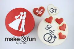Wedding Pattern Cookie Stencil, Airbrushing Stencil|Hochzeit Muster Airbrush Schablonen
