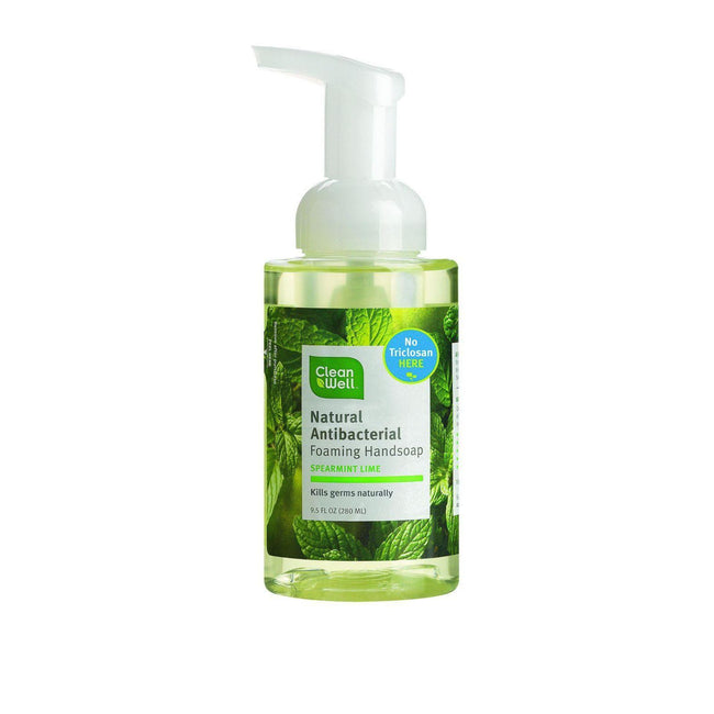 Cleanwell Natural Antibacterial Foaming Handsoap - Spearmint Lime - 9.5 Oz