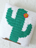 Happy Cactus Pillow // Crochet PDF Pattern
