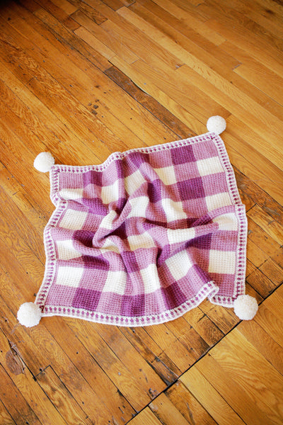 Sweet Gingham Baby Blanket Tunisian Crochet Pdf Pattern