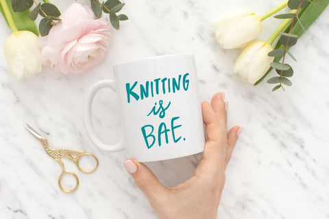 KNITTING IS BAE Coffee Mug, Teal