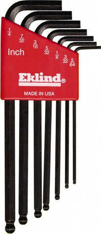 Eklind 7 Piece L Key Standard Ball End Set with Hex - Discount Industrial Hardware Supply