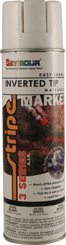 Seymour Stripe Inverted Tip Water Based Air Technology Spray Paint - White - Discount Industrial Hardware Supply