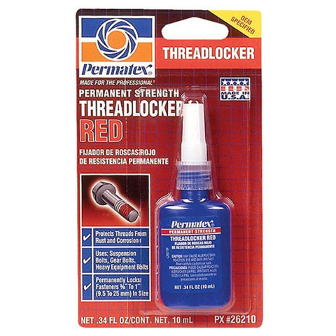 Permatex Permanent Strength Threadlocker Red 10ml Bottle - Discount Industrial Hardware Supply