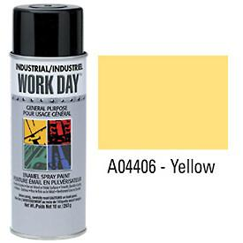 Work Day™ Aerosol Enamel Paints - Yellow - Discount Industrial Hardware Supply