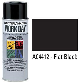 Work Day™ Aerosol Enamel Paints - Flat Black - Discount Industrial Hardware Supply