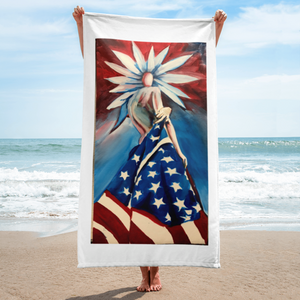 American Flag Flower Girl Design on a Beach Towel
