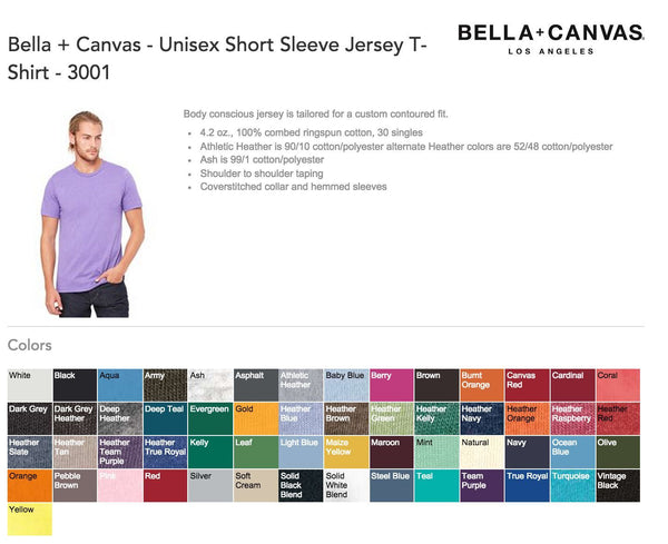Bella Canvas 3001 T-Shirt Color Chart