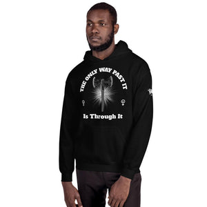 "Karma Inc Apparel  Black / S ""The Only Way Past It Is Through It"" Unisex Hoodie"