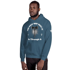 "Karma Inc Apparel  Indigo Blue / S ""The Only Way Past It Is Through It"" Unisex Hoodie"