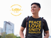 "Karma Inc Apparel  Karma Inc Apparel ""PEACE,LOVE.UNITY,EQUALITY"" Maize And Blue American Made T-Shirt"