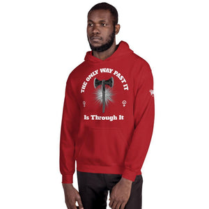 "Karma Inc Apparel  Red / S ""The Only Way Past It Is Through It"" Unisex Hoodie"