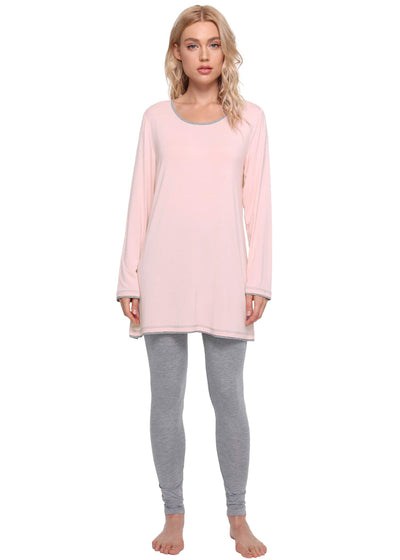 Women's Long Sleeves Tunic Top Pajamas Leggings Set - Latuza