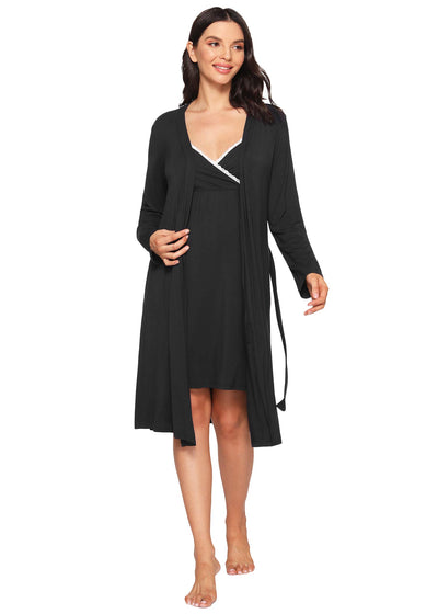 Women's Bamboo Viscose Nursing Nightgown and Robe Set - Latuza