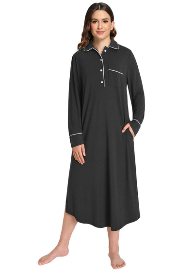 Women's Button Down Sleep Shirt Long Sleeves Nightgown - Latuza