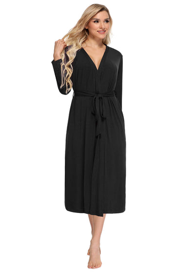 Women's Bamboo Viscose Robes Long Sleeves Bathrobe with Pockets - Latuza