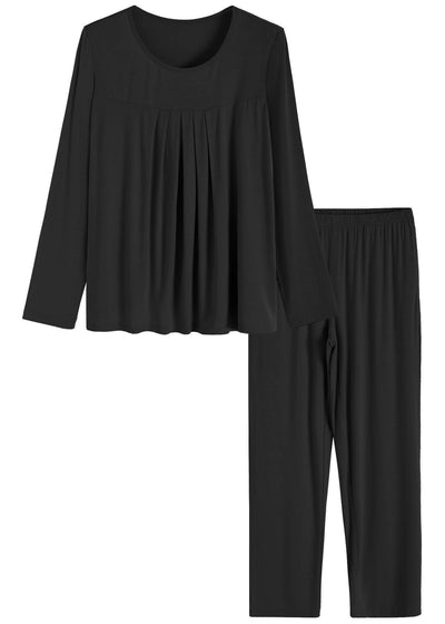 Women's Long Sleeves Pleated Front Tops Pajamas Pants with Pockets - Latuza