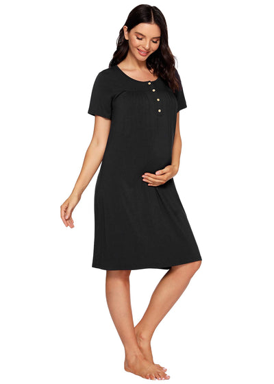 Women's Bamboo Viscose Nursing Nightgown Maternity Dress - Latuza