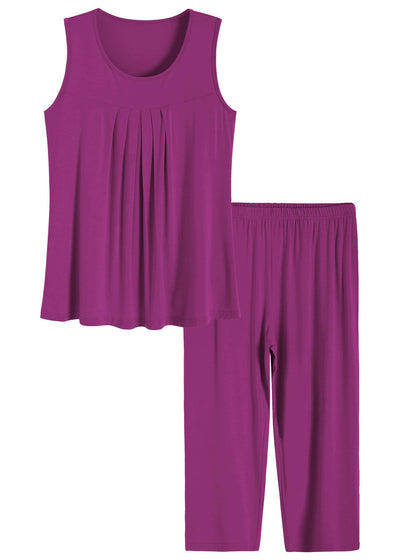 Women's Pleated Tank Top Capris Pajamas Set - Latuza