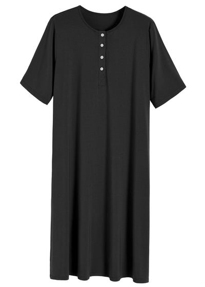 Women's Long Sleep Shirt Henley Nightshirt with Pockets - Latuza