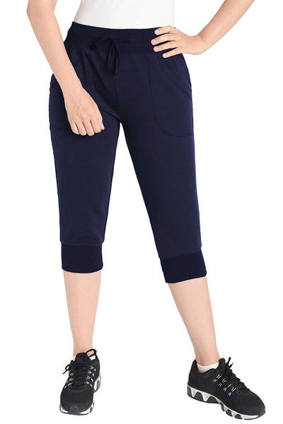 Women's Cotton Sweatpants Jersey Capri Pants with Pockets - Latuza