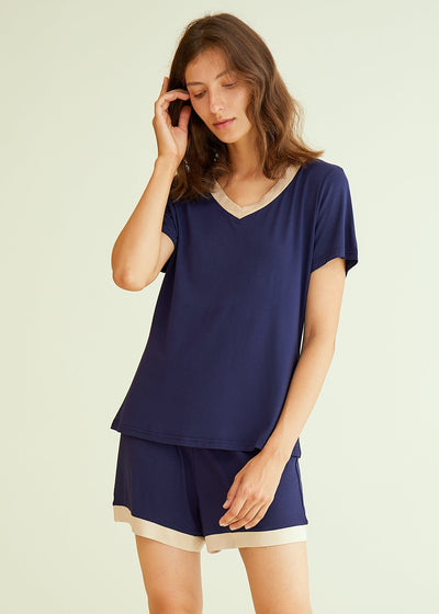 Women's V-Neck Short Sleeve Bamboo Pajama Set - Latuza