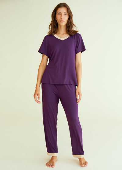 Women's Bamboo Sleepwear Short Sleeves Top with Pants Pajama Set - Latuza