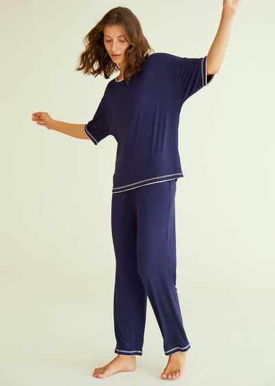 Women's 3/4 Sleeve Scoop Neck Bamboo Pajama Set - Latuza