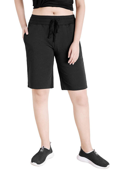 Women's Cotton Jersey Bermuda Shorts with Pockets - Latuza