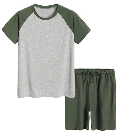 Men's Raglan Shirt and Shorts Pajamas Set with Pockets - Latuza