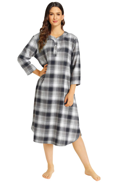 Women's Plaid Flannel Nightgown Warm Cotton Midi Nightgown - Latuza