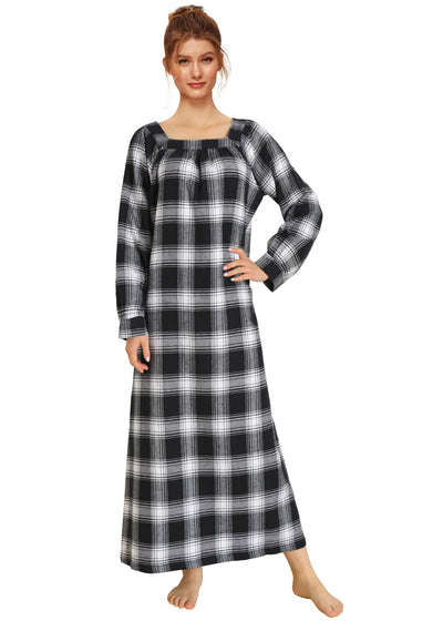Women's Long Sleeves Cotton Flannel Nightgown - Latuza