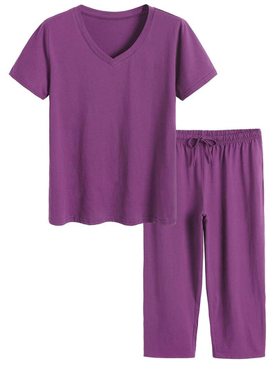 Women's Cotton Pajamas Set Tops and Capri Pants Sleepwear - Latuza