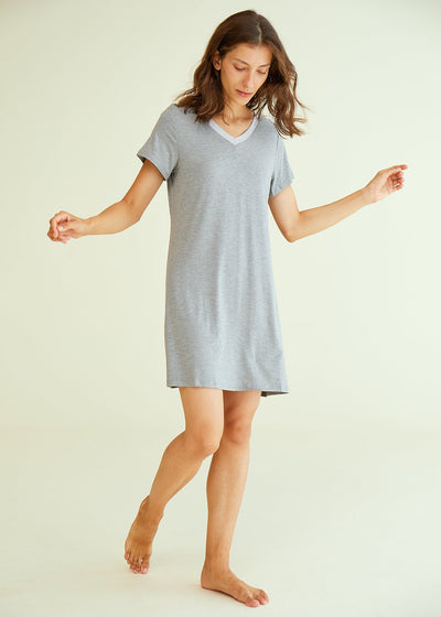 Women's V-Neck Bamboo Sleep Night Shirt Dress Jersey Nightgown - Latuza