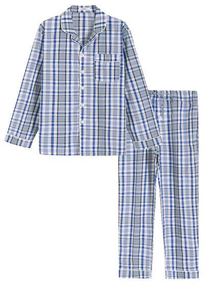 Men's Lightweight Cotton Pajamas Long Sleeves Shirt Pants Set - Latuza