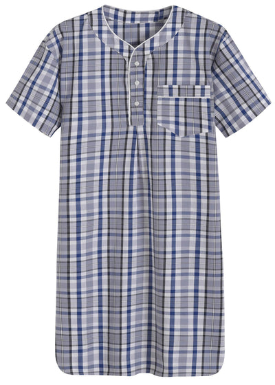 Men's Plaid Nightshirt Cotton Sleep Shirt - Latuza