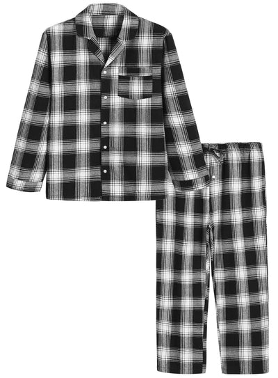 Men's Cotton Pajama Set Plaid Woven Sleepwear - Latuza
