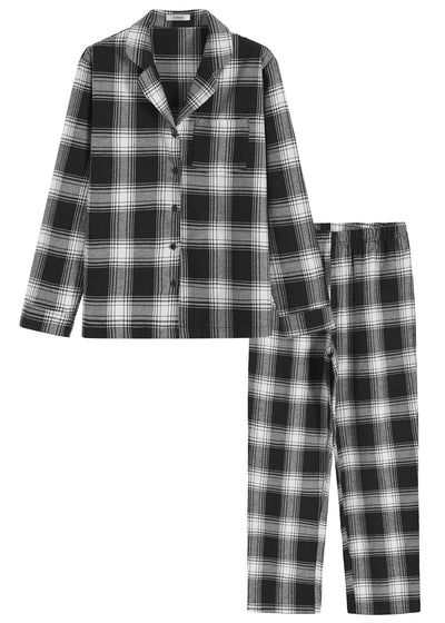 Women's Cotton Flannel Pajamas Shirt and Pants with Pockets - Latuza
