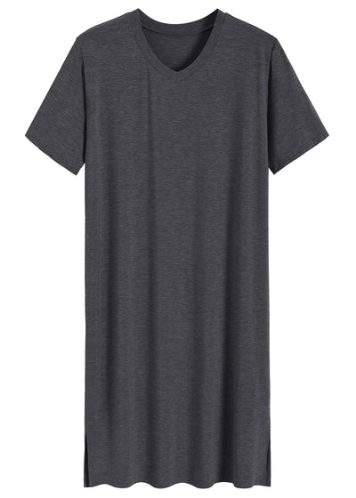Men's Bamboo Viscose Nightshirt Short Sleeves Sleep Shirt