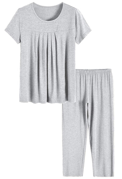 Women's Bamboo Sleepwear Pleated Shirt Pants Pajamas Set - Latuza