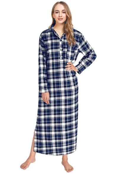 Women's Plaid Flannel Nightgowns Full Length Sleep Shirts - Latuza